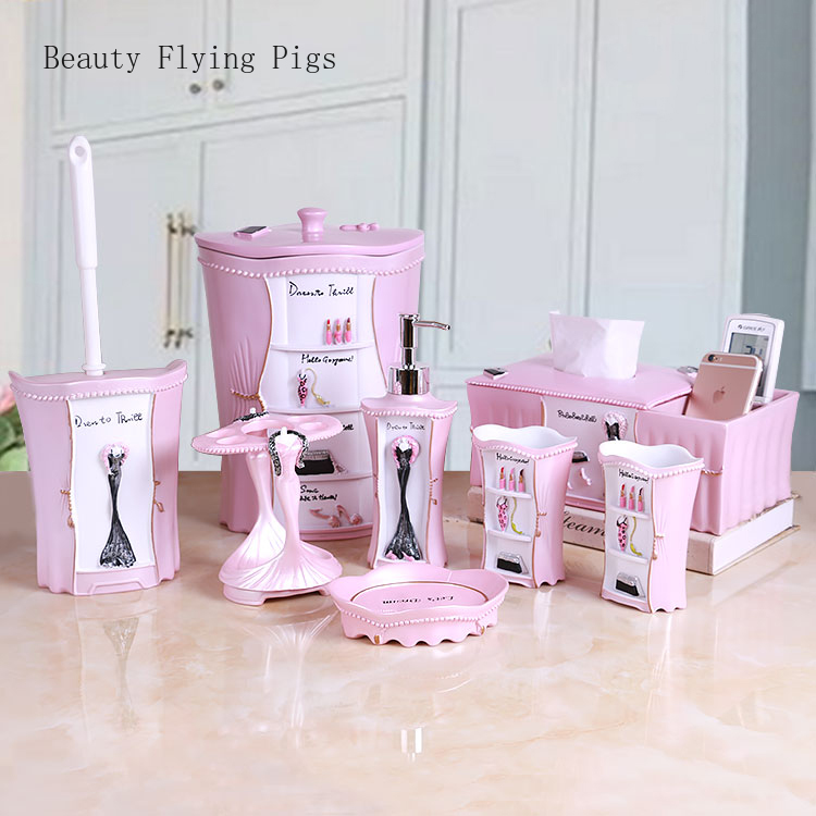 Direct sales new pink beauty bathroom storage decoration creative wash set modern bathroom wedding gift couple toothbrush cup image