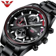 NIBOSI Mens Watches Top Brand Luxury Sport Quartz Chronograph Steel Male Clock Military Waterproof Chronograph Relogio Masculino
