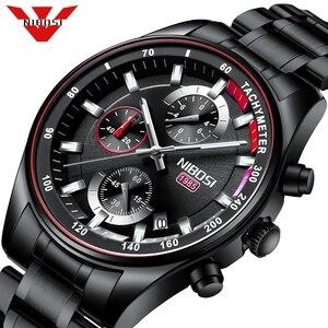 Image 1 - NIBOSI hommes montres haut de gamme Sport Quartz chronographe acier mâle horloge militaire étanche chronographe Relogio Masculino