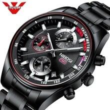 Nibosi mens 시계 브랜드 럭셔리 스포츠 쿼츠 크로노 그래프 스틸 남성 시계 밀리터리 방수 크로노 그래프 relogio masculino
