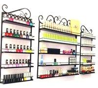 3 Pcs/Set 5 Layer Iron Nail Polish Shelf Black Nail Shop Exhibition Shelf Nail Polish Display Wall Rack Makeup Organizer