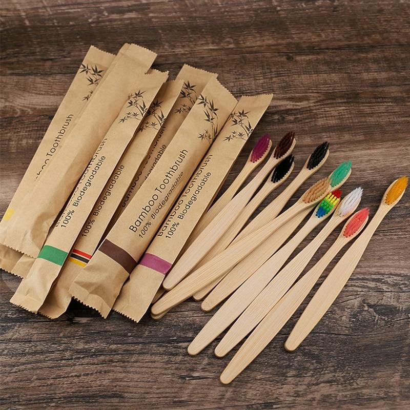 25/50 шт красочные бамбуковые Зубная щётка с бамбуковым древесным углем стол мягкие волосы Эко-дружественных кисти Зубная щетка Зубная инстр...
