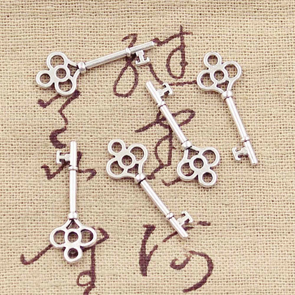 50 Pcs Charms Vintage Skeleton Key 25X9 Mm Warna Perak Antik Liontin Diycrafts Membuat Temuan Handmade Tibet Perhiasan