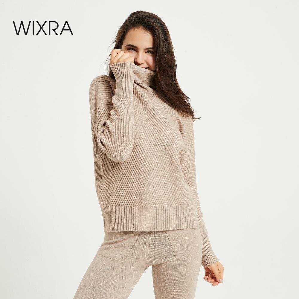 Wixra-Conjunto de Jersey de manga larga para mujer, suéteres elásticos con cuello de tortuga y pantalones con cordón, trajes de 2 piezas, disfraz de invierno