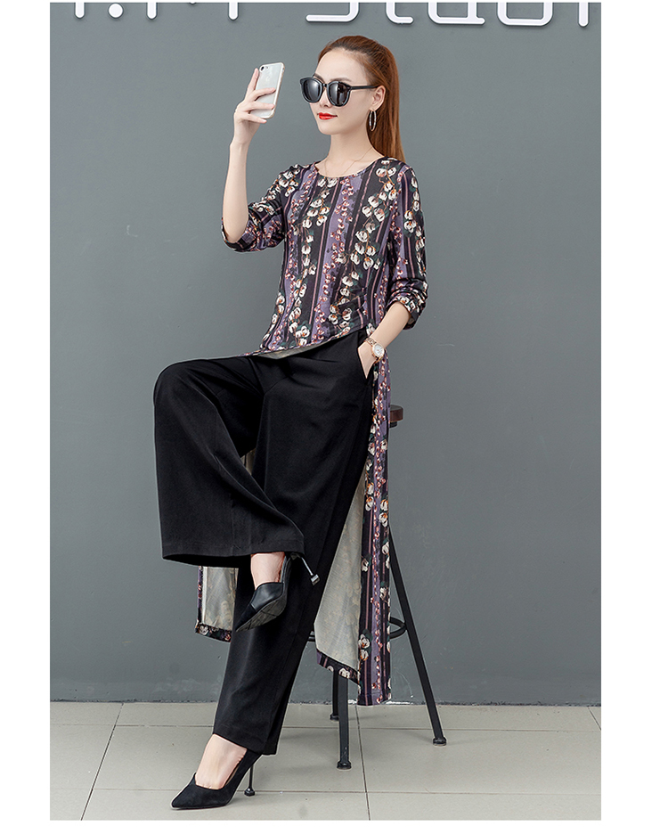 Printed Two Piece Sets Outfits Women Plus Size Splicing Long Tops And Wide Leg Pants Suits Elegant Office Fashion Korean Sets 58