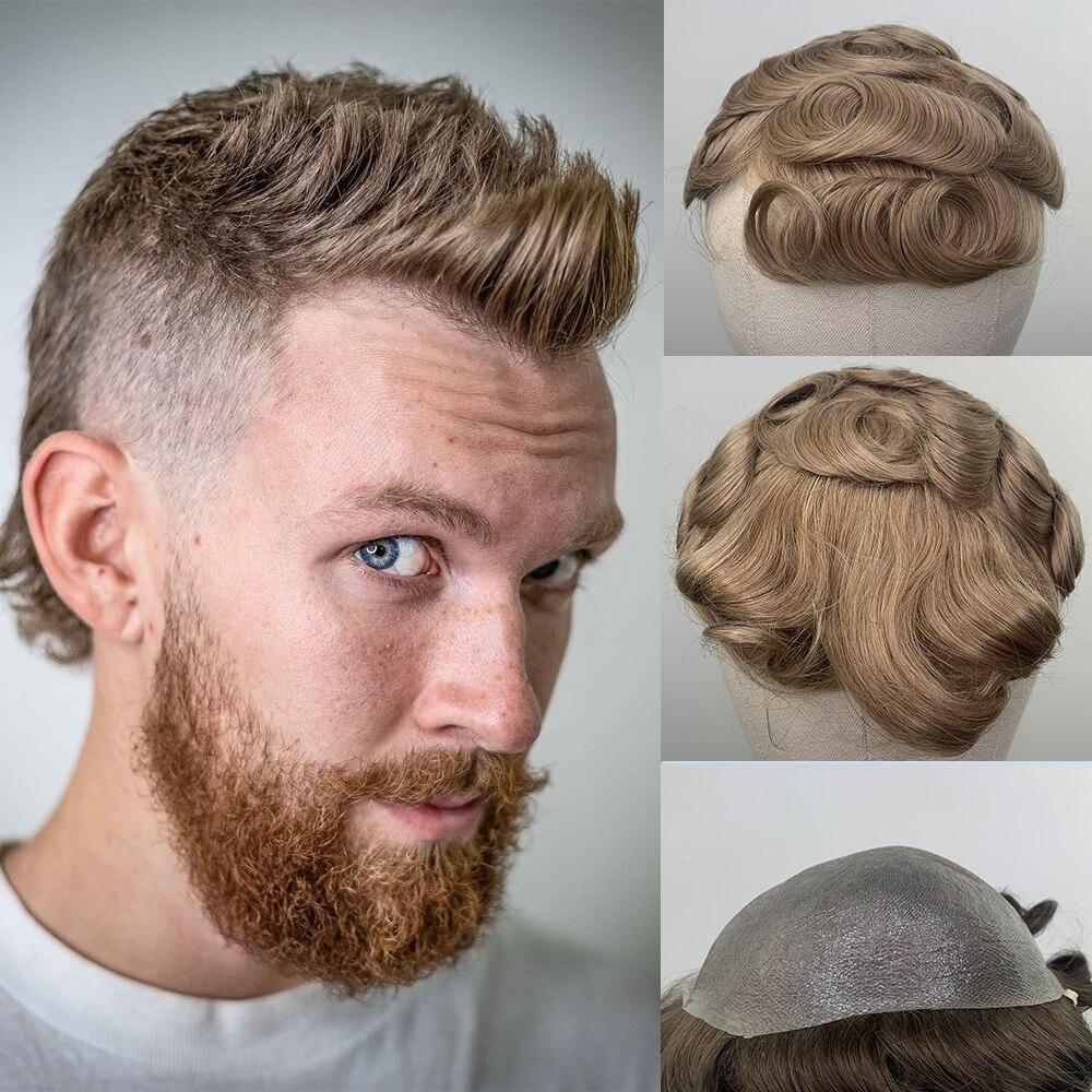 YY парики #22 блондинка парик из человеческих волос для Для мужчин волосы Remy человеческие волосы заменить Для мужчин t Системы 8x10 из тонкой