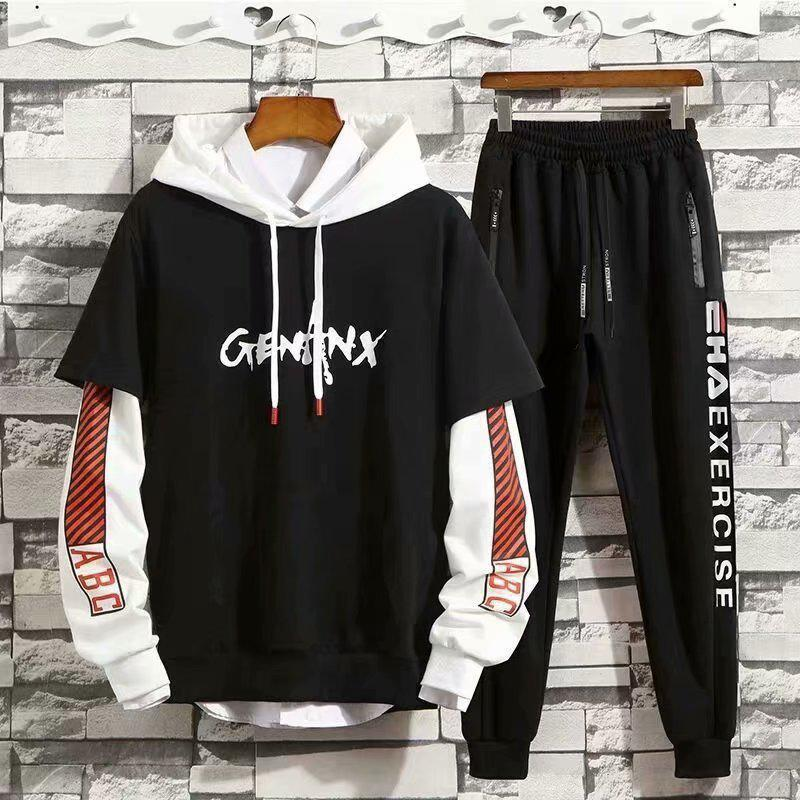 Men's Fashion Casual Hooded Pullover Print Color Matching Sweater Long-sleeved Trousers Youth Suit