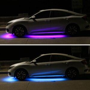 Image 4 - 12 فولت الجزء السفلي من السيارة LED أضواء تحت توهج مرنة قطاع أضواء RGB جو الزخرفية تحت مصباح هيكل السيارة هيكل السيارة نظام ضوء