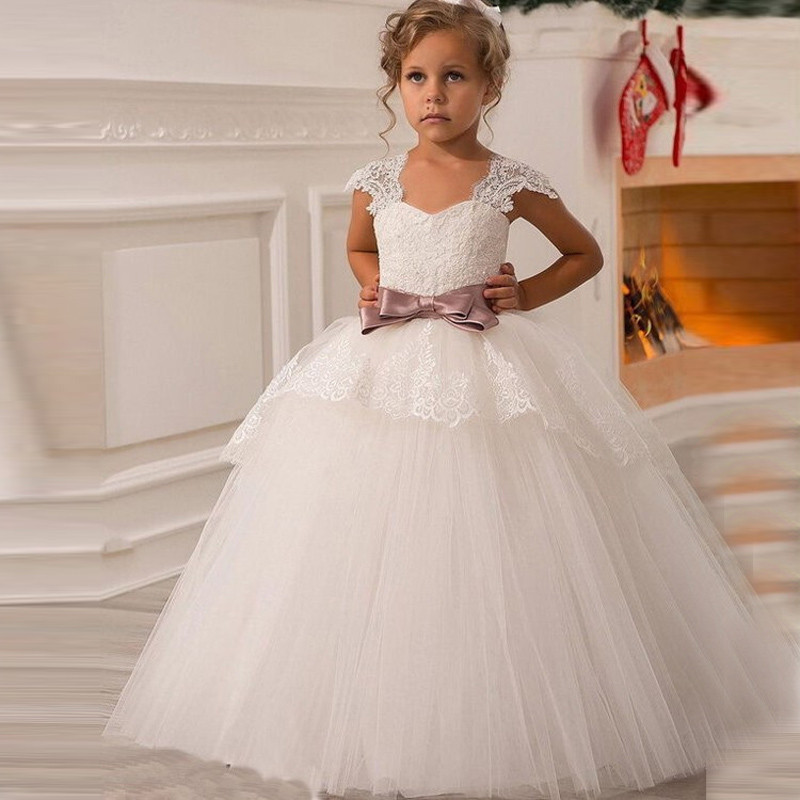 Cute 2019   Flower     Girl     Dresses   For Weddings Ball Gown Cap Sleeeves Tulle Lace Bow Long First Communion   Dresses   Little   Girl