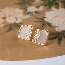 Vla 925 prata personalizado painel brincos para clássico estilo nacional incrustado chalcedônia moda jóias femininas