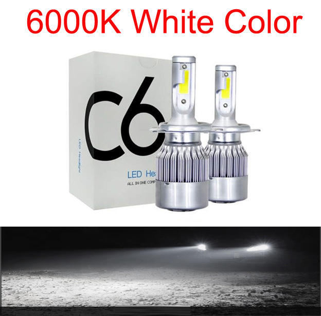Muxall 2 шт. Blub авто автомобиль H8 H11 H7 H4 H1 светодиодный фары 6000 К холодный белый 72 Вт 8000 лм COB лампы Диоды автомобилей запчасти лампы - Испускаемый цвет: 6000K
