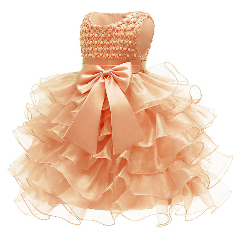 Flower Girl Baby's First Baptist Baptist Party Lace Golden Dress Girl Baby's Eucharist First Party Dress