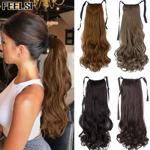 Wavy Ponytail Silky Synthetic Clip in Drawstring Ponytail Hairpieces for Women Hair Extension Synthetic High Temperature Fiber
