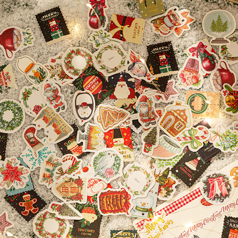 46 Pcs Diy Christmas Sticker Cute Santa Snowman Sticker For Card Making Crafts Holiday Decor Scrapbook Planners Diary