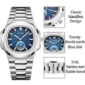 Image 5 - New Two Tone Gold Patek Watch Nautilus 5711 Designer Diving Watch Men Black Dial Chronograph Steel Bracelet AAA Waterproof Watch