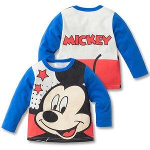 Детские футболки Эльза для мальчиков, детские топы с длинными рукавами с Микки и Минни Маус, детские осенние однотонные хлопковые толстовки...
