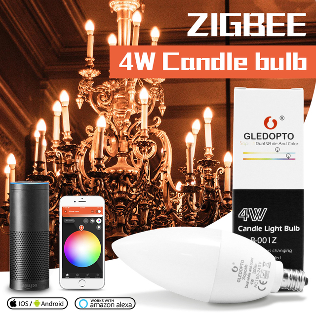 GLEDOPTO zigbee inteligentna dioda led 4W E12/E14 możliwość przyciemniania RGBCCT atmosfera świeczka dekoracyjna żarówki kompatybilne z Amazon Echo Plus AC