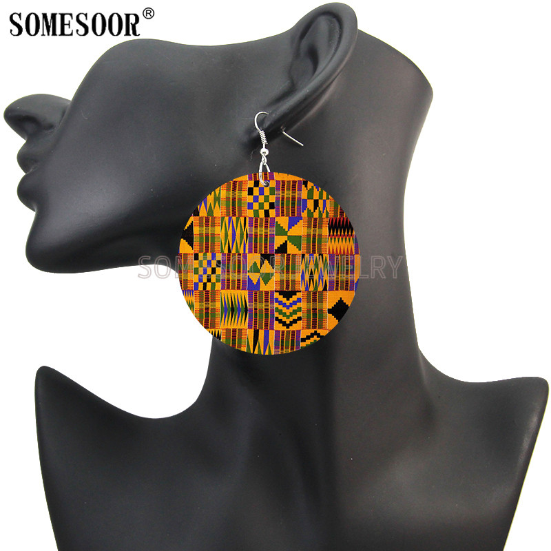SOMESOOR Afro Fabric Headwrap Design Wooden Drop Earrings African Comb Black Arts Both Sides Printed Wood Dangle For Women Gifts