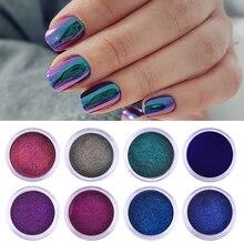 Spiegel Auroras Wirkung Nail art Chamäleon Glitzernden Pulver 1 Box 8 Farben Chrome Pigment DIY Design Dekoration