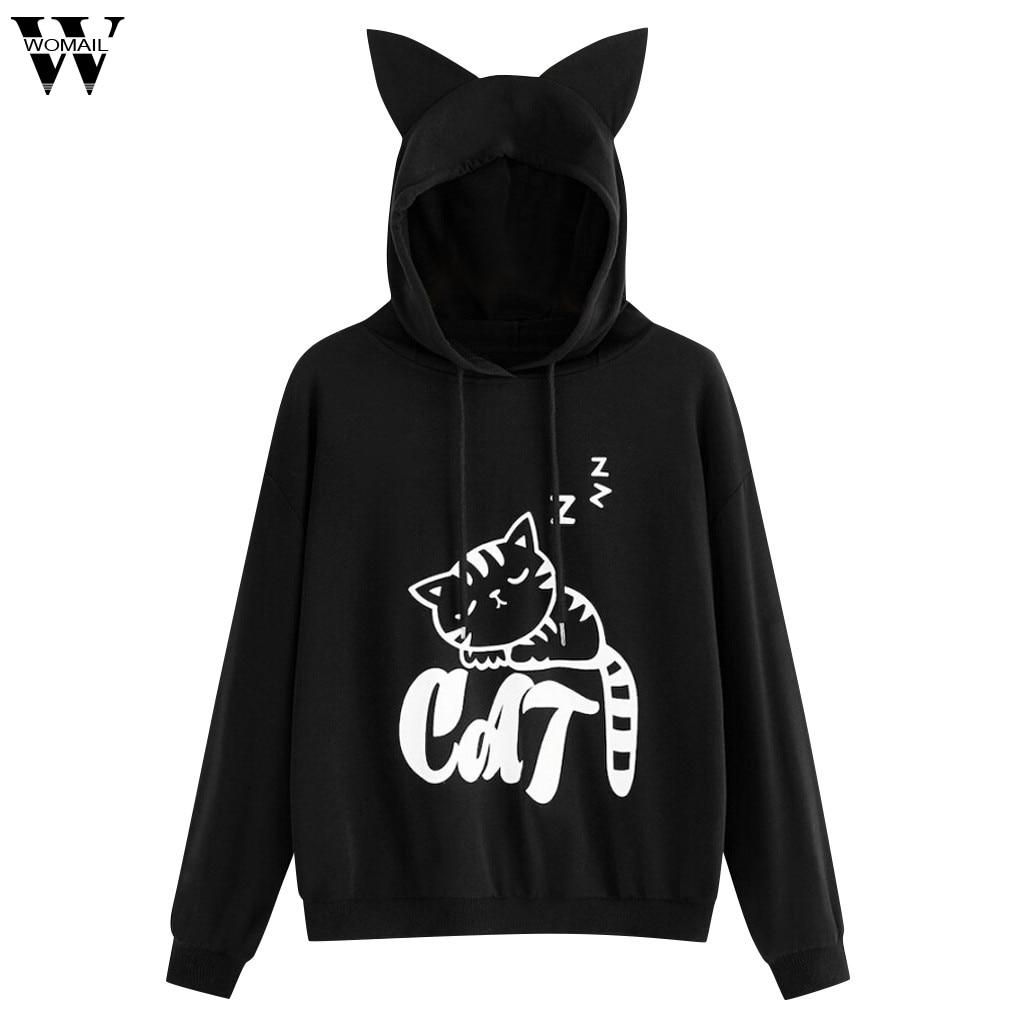 Womail Sweatshirts Women's Cat Print Long Sleeve Hoodie  Hooded Pullover Tops Blouse Spring Sudadera Autumn Sweatshirt S-XXL 25
