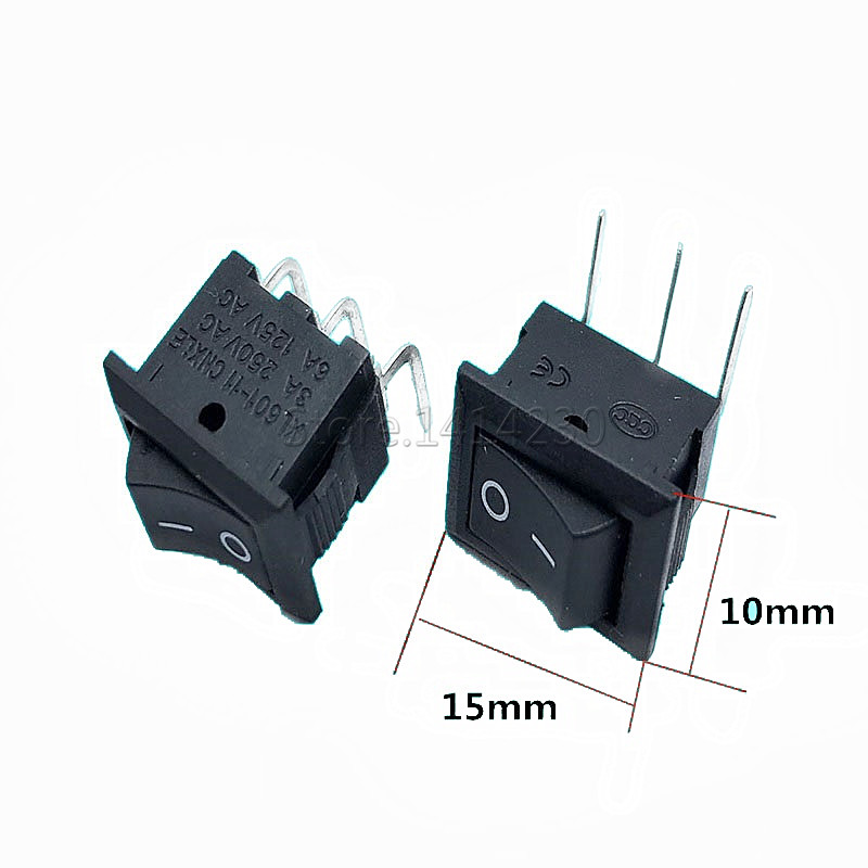 10PCS Ship Type Switch Black 10*15mm 3PIN 90 Degree Curved Needle Pins ON-OFF Boat Rocker Switch 3A/250V 6A/125V AC Power Switch
