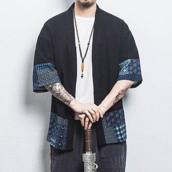 Man Sleeve Shirt Kimono traditional Cardigan vintage Hanfu Shirt Surplices Coat japanese yukata Cardigan without buttons