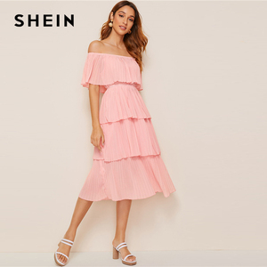 Image 5 - SHEIN Foldover Front Off Shoulder Layered Pleated Dress Solid Ruffle High Waist Women Dresses Glamorous Summer Dress