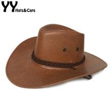 YY искусственная ковбойская шляпа из кожи для мужчин Джаз Панама широкополый с ветровой веревкой Западная пастушка Chapeau de Cowboy Cuir Adulte NZ003