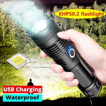 high lumens XHP50.2 most powerful led flashlight usb Zoom Tactical torch xhp50 18650 or 26650 Rechargeable battery hand light