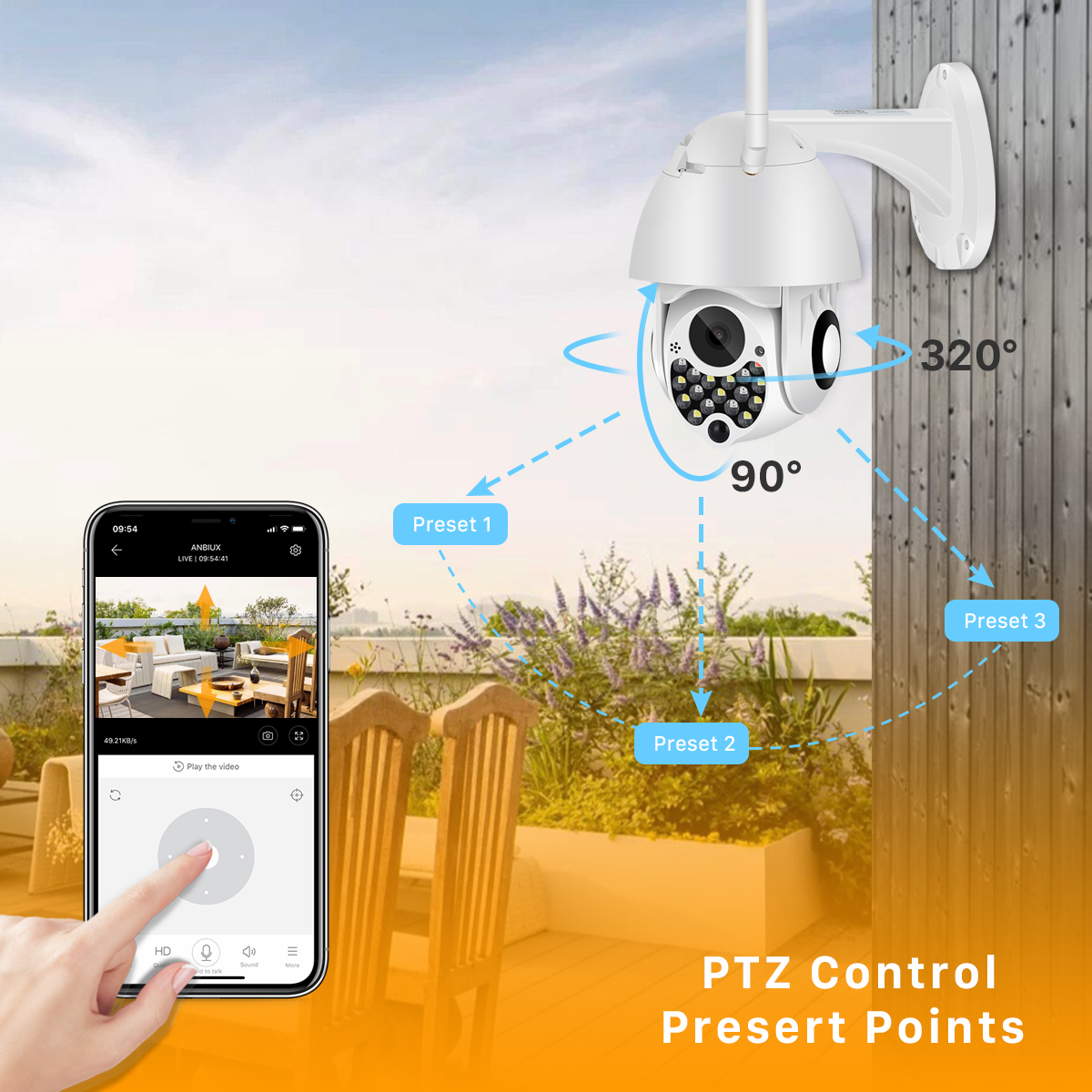 H91ed480c638b47faa31f4a4eeeb7a6ccH 1080P Outdoor Wifi PTZ Camera with Siren Light Auto Tracking Cloud Home Security IP Camera 2MP 4X Digital Zoom Speed Dome Camera