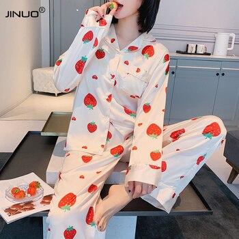 JINUO Strawberry Pyjama Mujer Femme Cotton Pajamas Set Silk Petite Pijama Feminino Casual Sleepwear Nightwear Suit Women