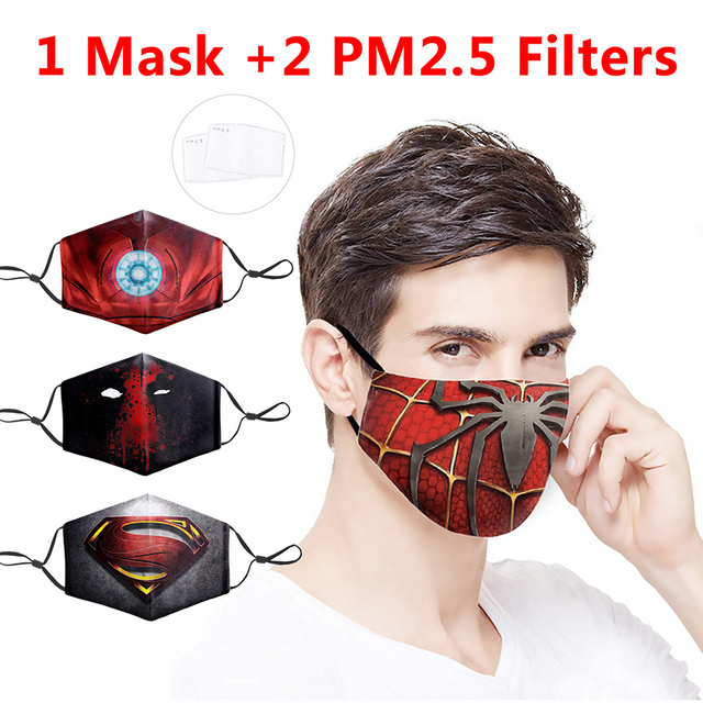 Marvel Superhero Printing Masks Protective PM2.5 Filter Mouth-Muffle Fashion Mask Dust Face Mask Anti Bacteria Proof Flu Mask 1