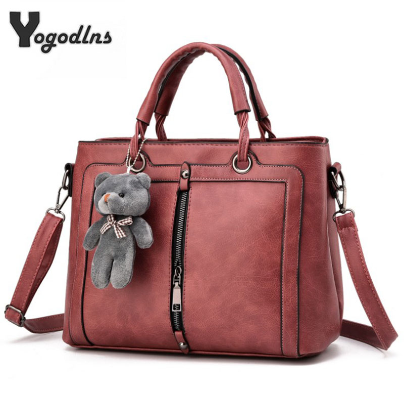 Fashion Women Handbags PU Leather Totes Bag Top-handle  Crossbody Bag Cute Bear Shoulder Bag Simple Ladies Style Hand Bags