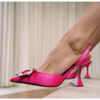2021 Brand women Pumps luxury Crystal Slingback High heels Summer bride Shoes Comfortable triangle Heeled Party Wedding Shoes 1
