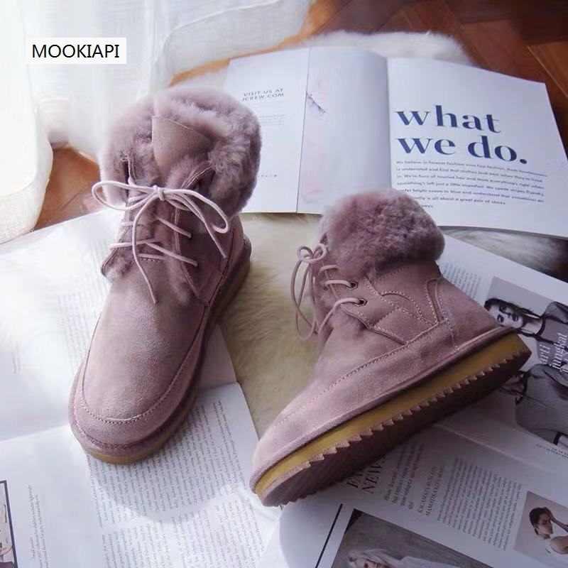 En 2019, las últimas botas de nieve de alta calidad de Europa, piel de oveja real, lana 100% natural, zapatos de mujer, entrega gratuita