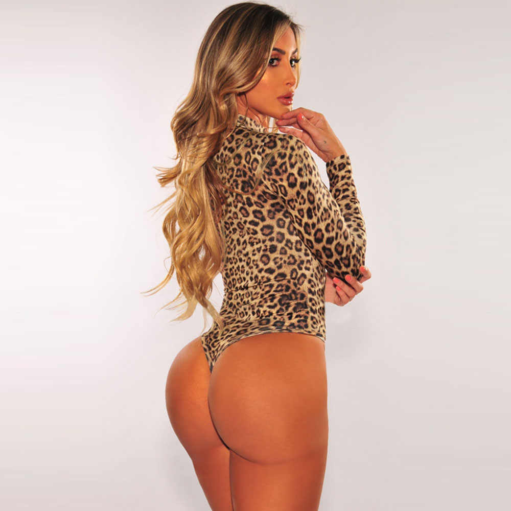 Sebowel Herfst Vrouw Animal Leopard/Snake Print Coltrui Lange Mouwen String Bodysuit Sexy Vrouwelijke Bodycon Body Top Kleding