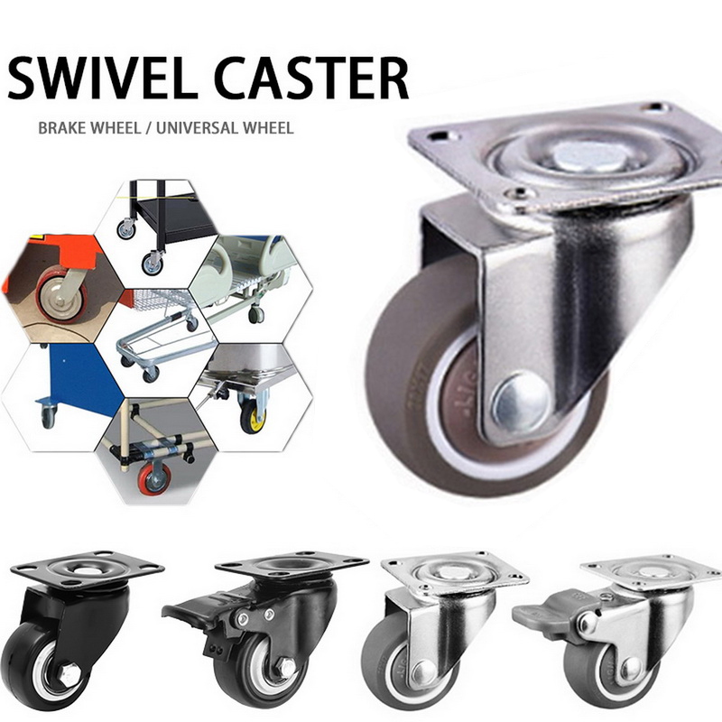 80kg 4pcs Furniture Casters Wheels Soft Rubber Swivel Caster Silver Roller Wheel For Platform Trolley Chair Household Accessori-0