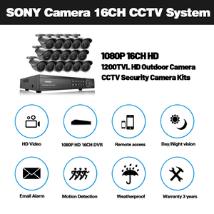 Image 2 - NINIVISION AHD CCTV System 16CH AHD 1080P CCTV DVR Kit HDMI 1080N 1200TVL IR Kameras Sicherheit System 16 kanal CCTV NVR 1TB HDD