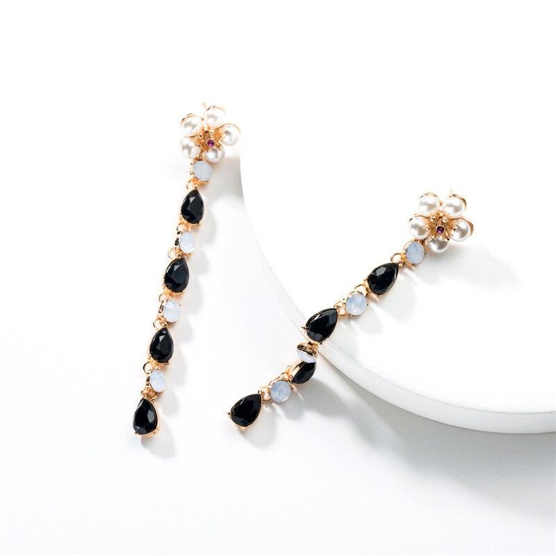 2019 New Fashion Jewelry Metal Acrylic Imitation Pearl Flower Earrings Retro Personality Long Women 39 s Party Popular Earrings in Drop Earrings from Jewelry amp Accessories