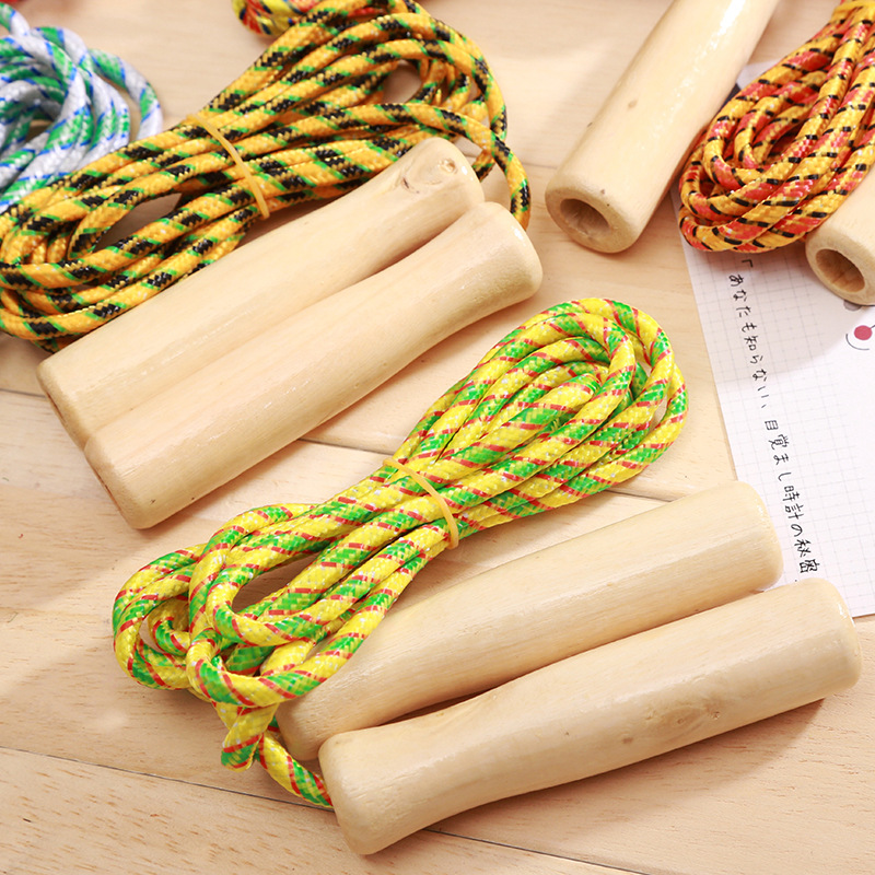 Skipping Rope With Wooden Handle Cotton Binder Stall Stationery Young STUDENT'S Sports Supplies