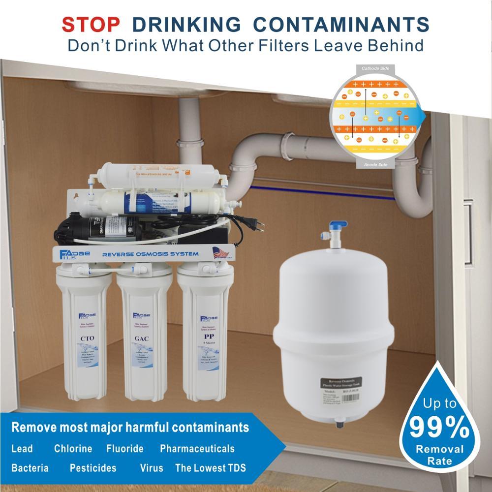 Под раковиной 6-ступенчатый деионизации обратного осмоса фильтрации питьевой воды Системы 75GPD установка для очистки воды при помощи обратн...