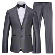 S-4XL New Men\'s Grey Business Suits Men Casual Groom Groomsmen Wedding Suit+Trousers for Male Autumn Winter - DISCOUNT ITEM  45% OFF Men\'s Clothing