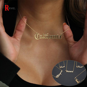 Customize Name Necklaces Women Chokers Stainless Steel Thick Metal Handwriting Signature Nameplate Initial Elegant Jewelry Gift