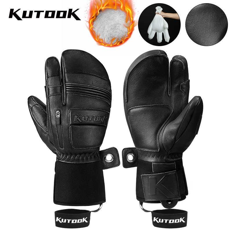 Зимние лыжные перчатки kutake, кожаные варежки из козьей кожи, 3 м, Зимние перчатки для сноуборда, теплые лыжные перчатки, водонепроницаемые мужские и женские