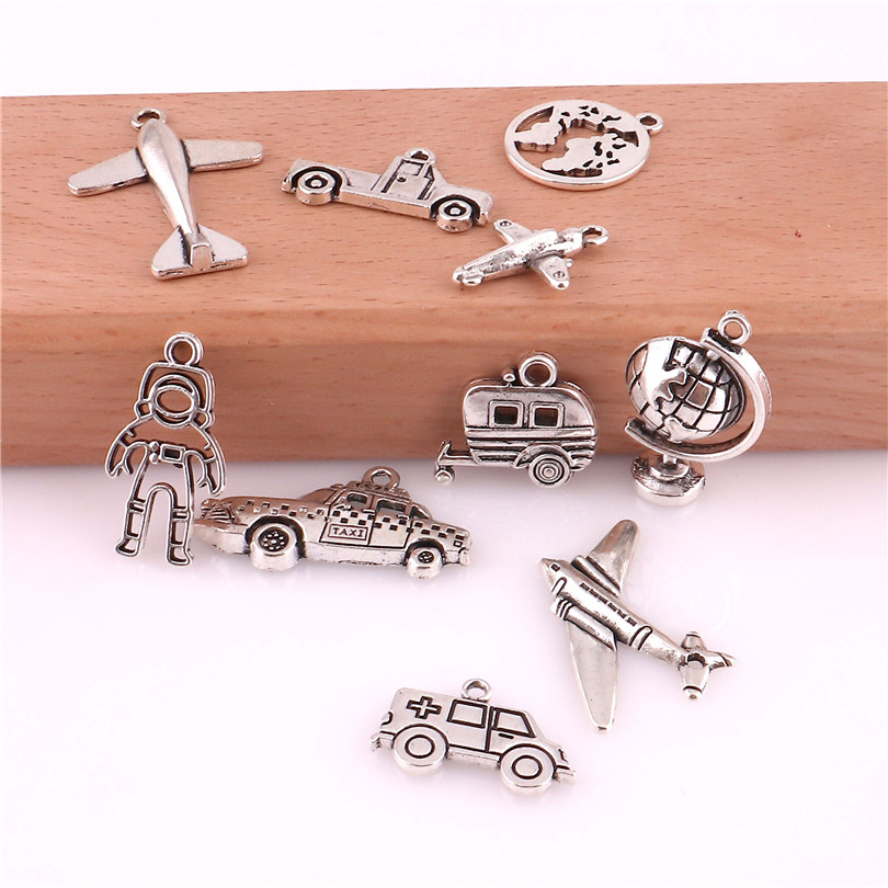 10pcs/lot Charms Antique Silver Color Tool Car Airplane Globe Pendant Charms European Bracelet Charms For Jewelry Making Finding image