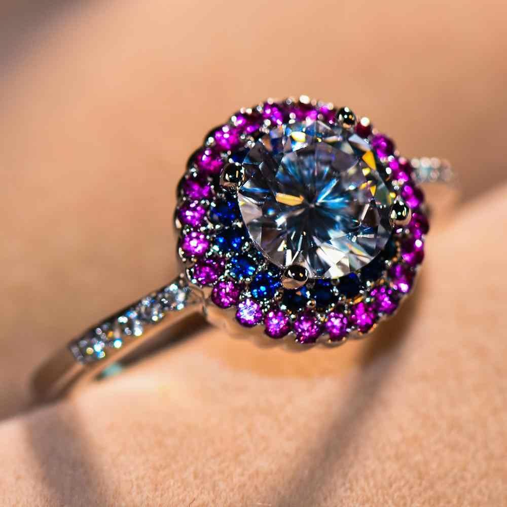 หญิงหรูหราสีขาวสีฟ้า Zircon แหวนเงิน 925 สีคริสตัลแหวนหมั้นแหวนแฟชั่นแหวนแต่งงานสำหรับผู้หญิง