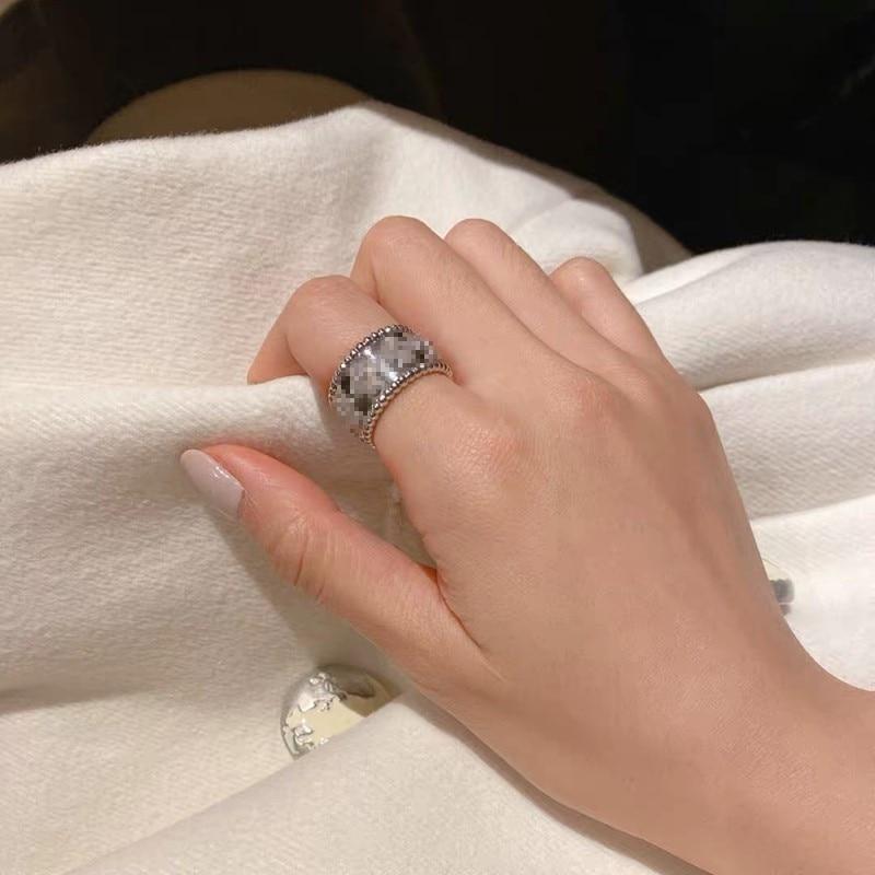 OIMG, классический стиль, инкрустированное медным цирконием, четыре лепестка, форма края, бусины, роскошное высококачественное женское кольц...