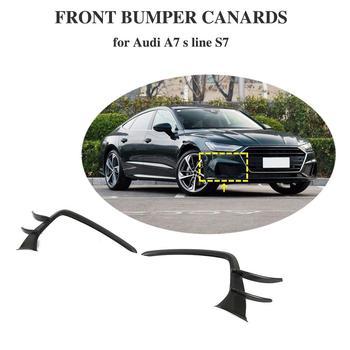 Front Bumper Side Fins Splitters Spoiler for Audi A7-sline S7 2019 2020 Carbon Fiber Trunk Trim Decoration fog light cover