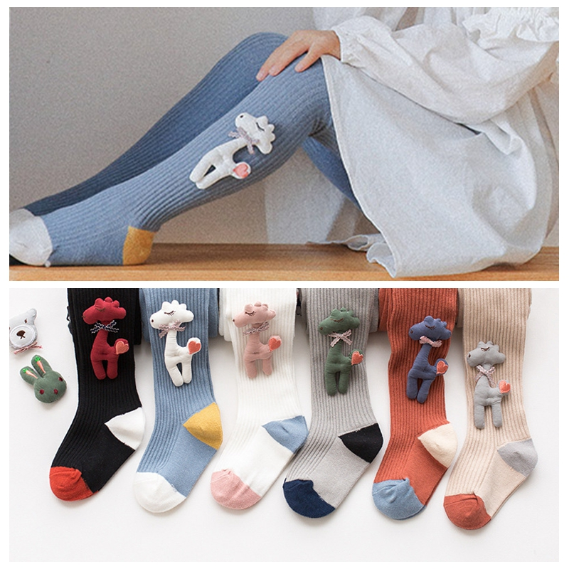 Cute Newborn Kid Baby Girls Stockings Warm Knit Toddler Kids Cotton Winter Cartoon Child Tights Baby Hosiery 1-8Y