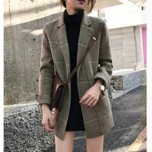 2019 New Women Fashion Plaid Blazers Suit Ladies Autumn Winter Plaid Loose Retro Plaid Woolen Suit Jacket Coats Female Outcoats